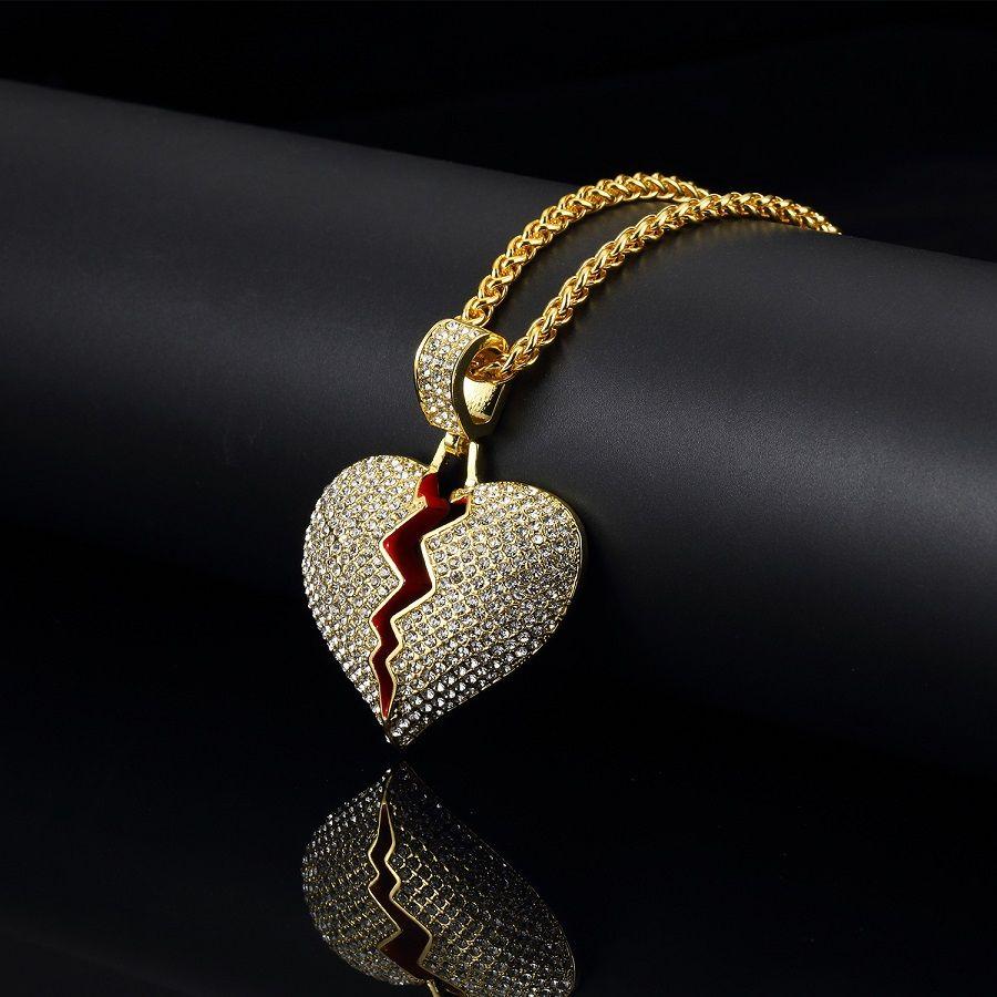 Wholesale Fashion Jewelry Mens Hip Hop Heart Pendant Necklace Gold Silver Color Pendant 75cm Long Chain Design Men Punk Necklace For Men Silver Necklaces Diamond Necklaces From Zx575761796 14 67 Dhgate Com