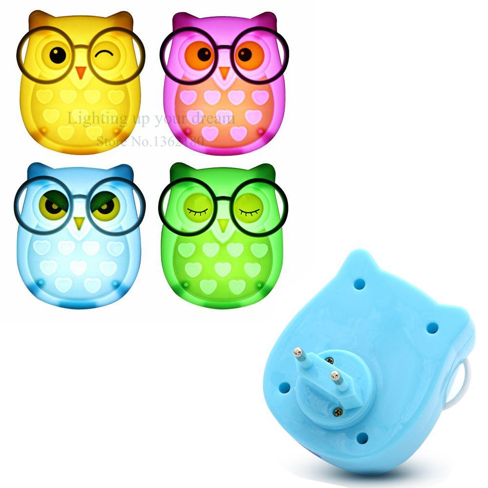 Tiereulen-Led-Nachtlicht Soft-Auto-Licht-Sensor-Steuerung LED-Sensor-Nachtlichter Neujahr Kind Baby-Schlafzimmer-Beleuchtung EU-Stecker