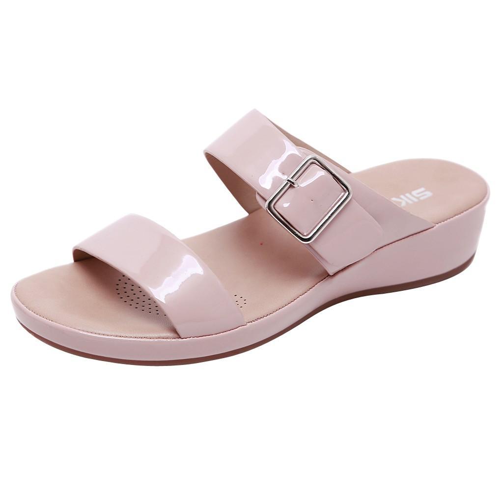 SAGACE Kadın toka rahat terlik yaz gündelik ayakkabı bayan yumuşak alt büyük boy kama terlik 2020 tokası