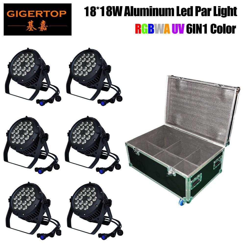 TIPTOP Stage Light 18x18W LED DJ Par light RGBWAUV 6in1 Par Can 64 DMX512 Disco Bar Waterproof Rack Flight Tour Case 8in1 Pack TP-P105C