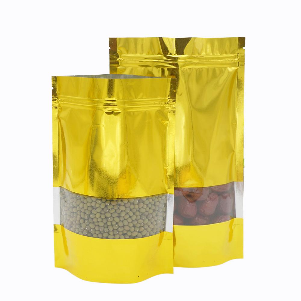 2019 12*20+4cm Golden aluminum foil self-styled stand bag Food grade material Food packaging store Ornaments bags Spot package