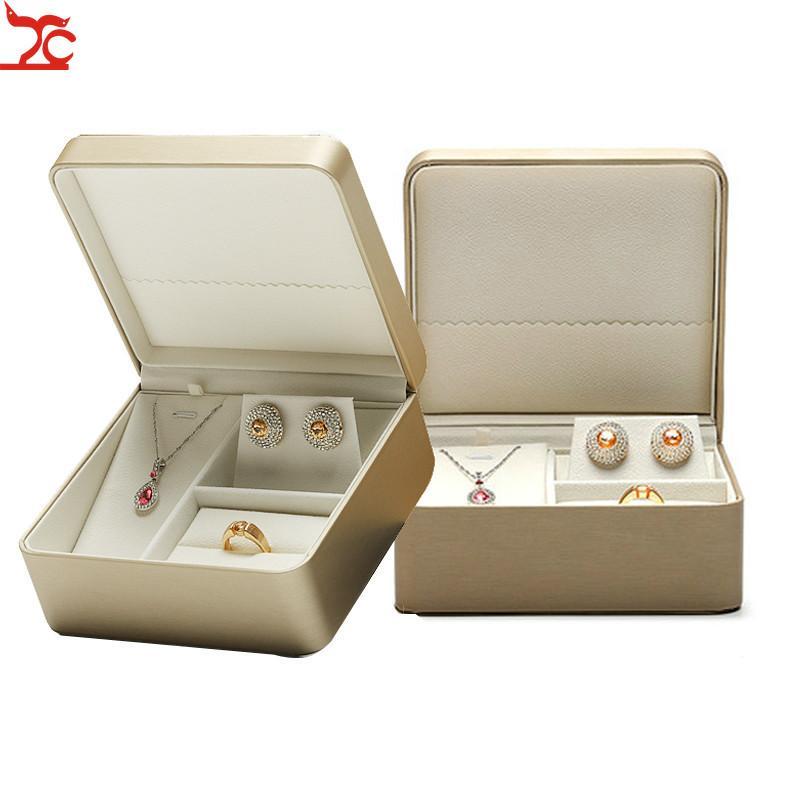 Couro Artificial jóias caixa de presente colar para Jewerly Set Exibição Caixa de armazenamento Brinco Box Set Embalagem de joalharia