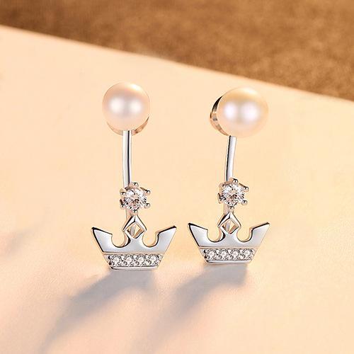 Orecchio L S925 Sterling Silver Pearl d'acqua dolce a pressione femmina temperamento semplice in stile coreano a due pezzi orecchini d'argento MOQ1