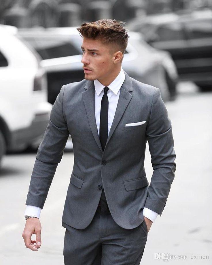 Gray Men Suits Wedding Groom Wear Tuxedos Groomsmen Slim Fit Best Man Suit Men's Suits Casual Street Blazer Skinny 2 Piece Jacket+Pants