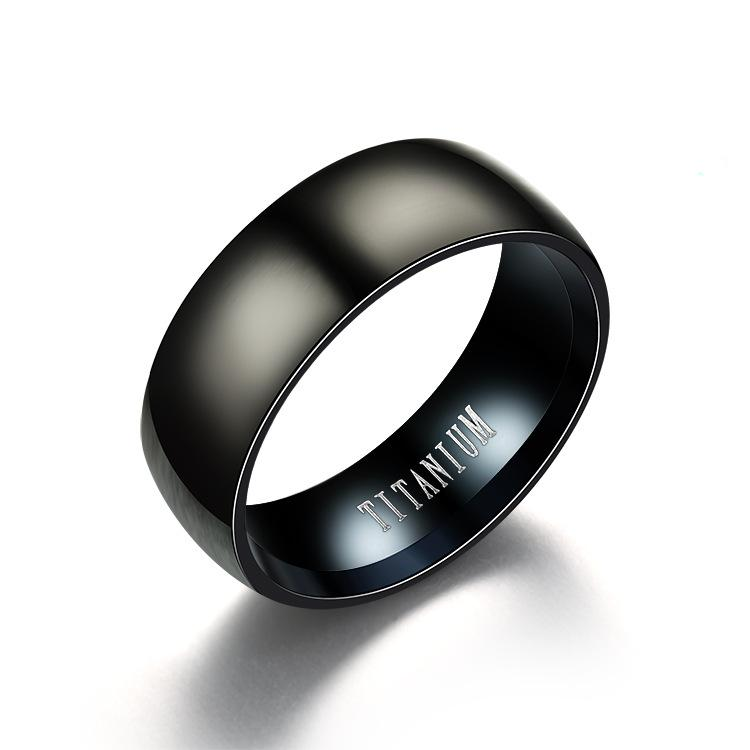 Simple Black Titanium Steel Mens Band Finger Rings Hot Sale Wide 8mm Fashion Jewelry Rings Accessories