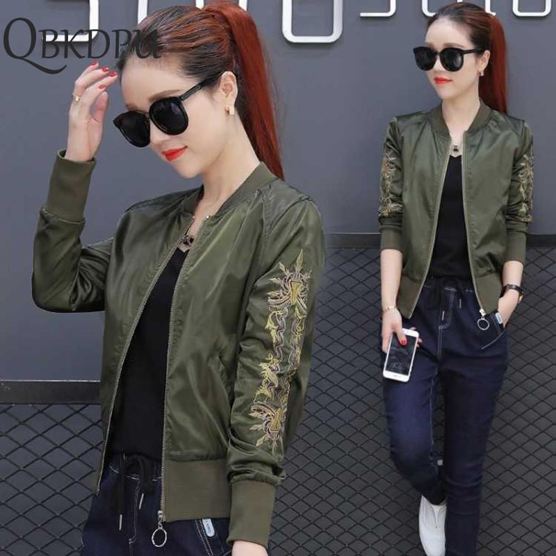 Verde Bomber mulheres Coats Army Blusão Brasão vôo Suit Casual Imprimir Jacket Patches bordados Jacket Coats Streetwear