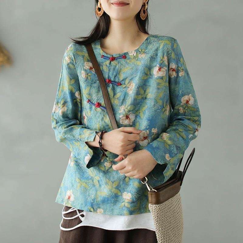 De tinta pintura de las flores de cosecha de impresión estilo del este sábanas de algodón botones laterales chino camisa femenina