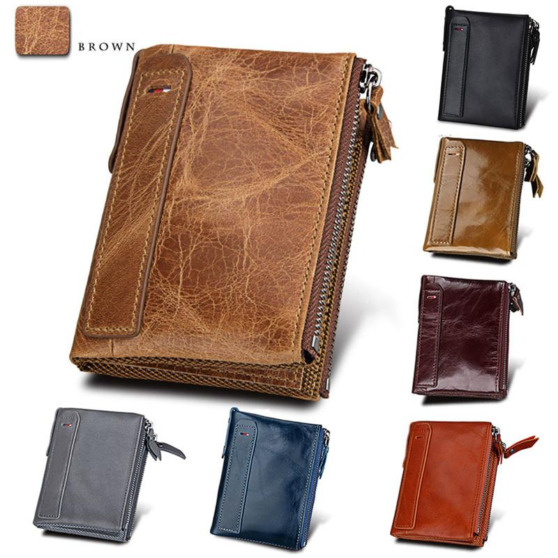 Fashion Money Clip Cowhide Leather Male Wallets Short Purse Coin Pockets Anti RFID Card Holders Double Zipper Wallets For Business