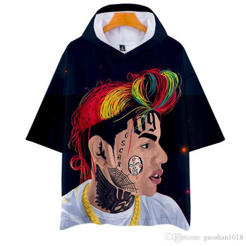 2019 Nuevo 3D 6ix9ine Camiseta con capucha Verano manga corta sala sala Cool Hooded Harajuku Hombres y Mujeres Moda Hoodies