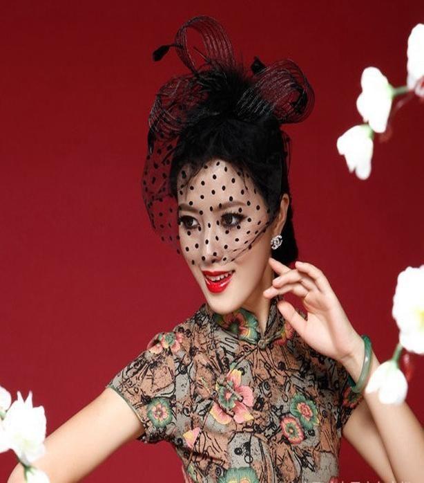 Elegant Black Women Bridal Hats And Fascinators Headpiece Headband Lady Face Veils Dot Net With Lssuing 2018 Wedding Accessories TRWtA