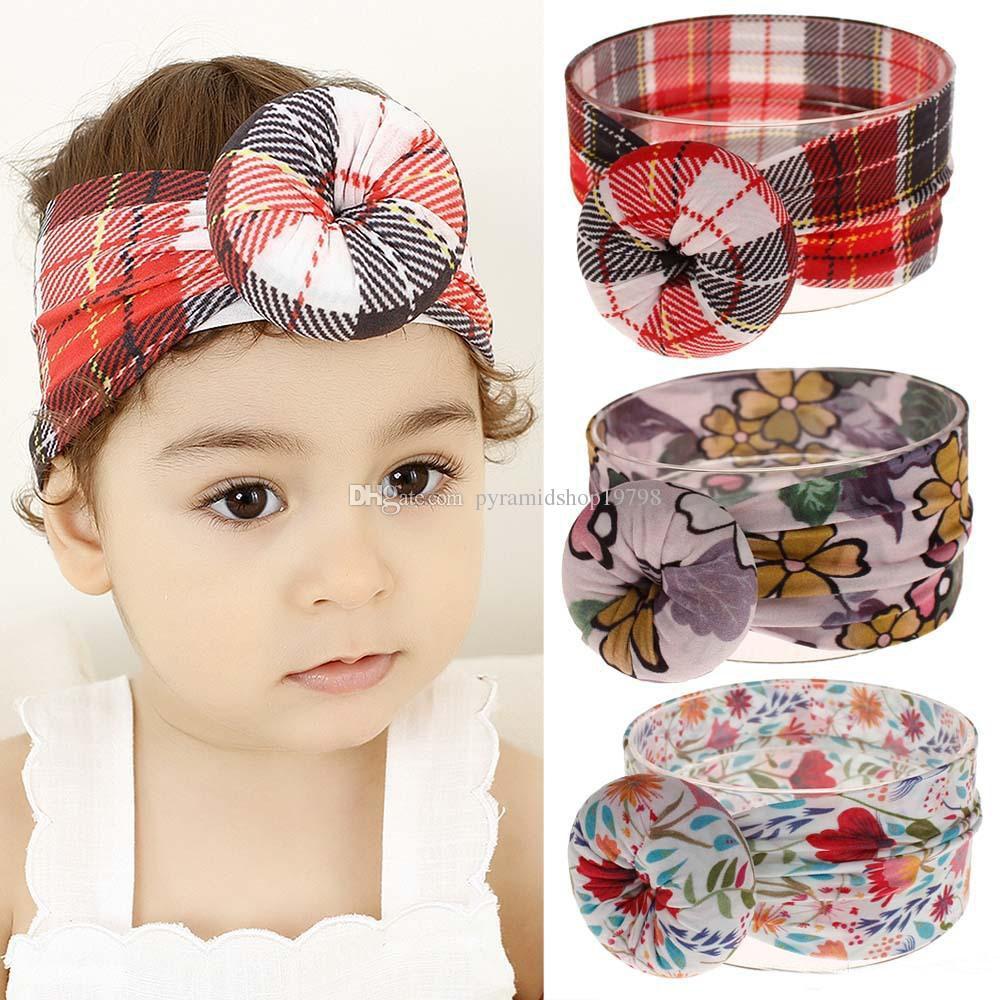 15 colors floral Turban Nylon Headband super soft ball Bohemia hair accessories fruit cactus infant kids headbands