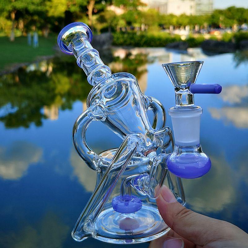 "7"" Recycler Dab Rig Tubos de cristal del coche lateral de 14 mm de agua masculino aceite Dab plataformas de ducha de cristal colorido Perc Bong Bong fumadores en pipa de agua Tazones"