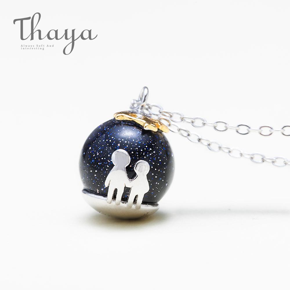 Thaya Party Blau Kies Edelstein Anhänger Halskette S925 Sterling Silber Kinder Kindheit Halskette Für Frauen Chic Einzigartiges Geschenk J190709