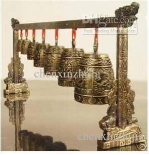 Gong di meditazione a buon mercato all'ingrosso con 7 ornato Bell con strumento musicale cinese di disegno del drago
