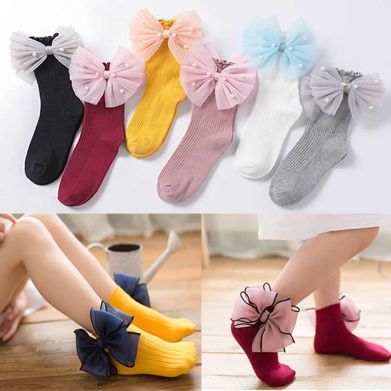 Девочки из органзы бабочка детские носки короткие новый хлопок жемчужный бант малыша носки для девочек носок принцессы носок