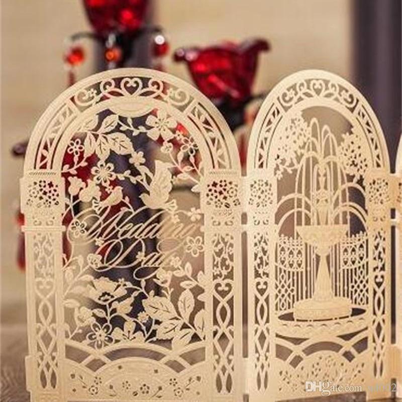 Nuevo kit de tarjetas de invitación de boda con corte láser personalizado dorado personalizado con sobres sellados impresión barda para cumpleaños 3fm