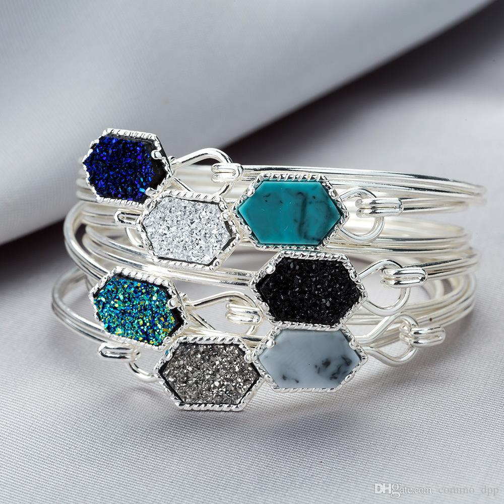 Vendita calda designer Druzy Bangle bracciali per le donne geometriche pietra naturale catena di filo di fascino di lusso gioielli fai da te in massa