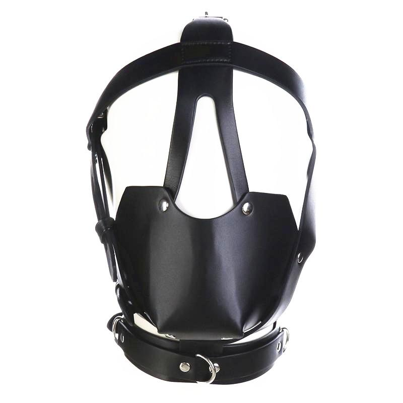 fetish head harness mouth mask with ball gag kinky play bdsm bondage gear roleplay sex toys for women black