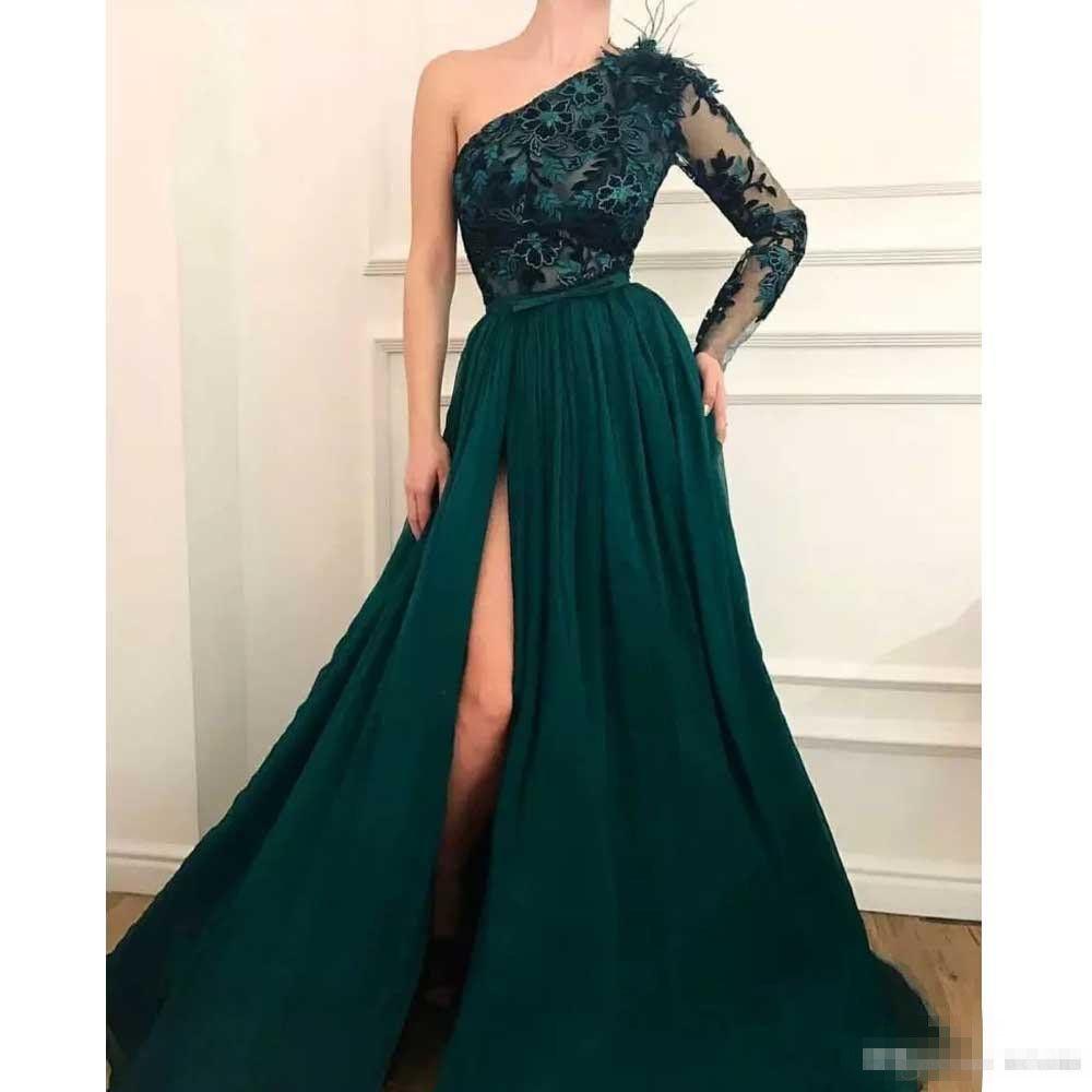 Элегантное темно-зеленое вечернее платье на одно плечо 2019 Аппликация Галстук-бабочка с перьями Вечернее платье с длинными рукавами и разрезом Абрик-бальное платье