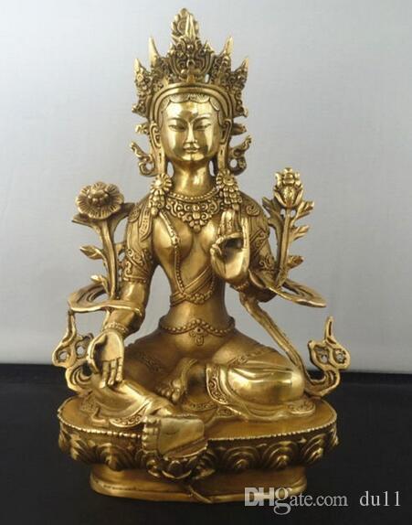 """8.5 """"bouddhisme tibétain cuivre vert Tara Dieu divinité Kwan-yin Bouddha Statue Décoration de Jardin 100% laiton véritable Bronze"""