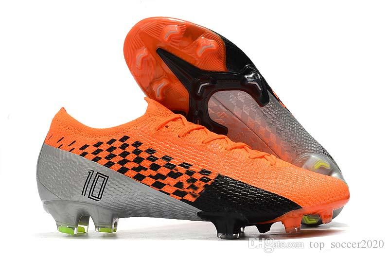 New Season 2020 Low Help Mercurial13 Elite Orange Grey FG Football Shoes Ronaldo CR7 Mens FG Soccer Shoes Soccer Boots Cleats