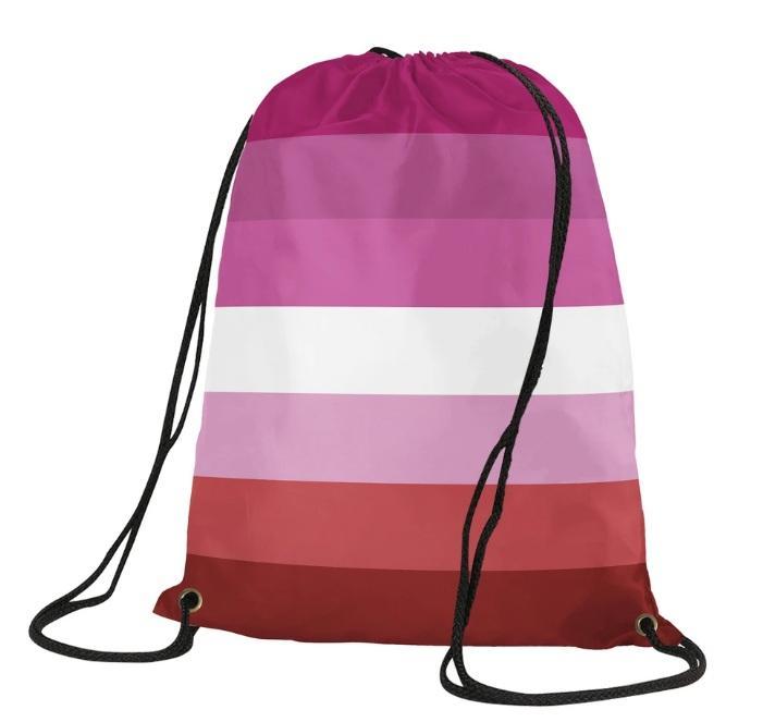 Poliéster Impressão Lesbian Drawstring Backpack 35x45cm peso leve durável Orgulho de Nova saco de Drawstring 7 Stripes para o partido Home