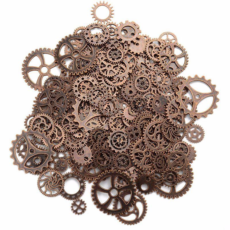 Sobre 120g / lot jóias DIY Fazendo metal Vintage Mixed Engrenagens Steampunk Engrenagem Pingente Encantos Pulseira Acessórios (Coppe vermelha antiga