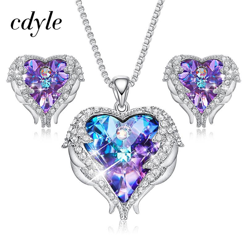 Beautiful Angel Pendants With CZ Purple Crystal Heart