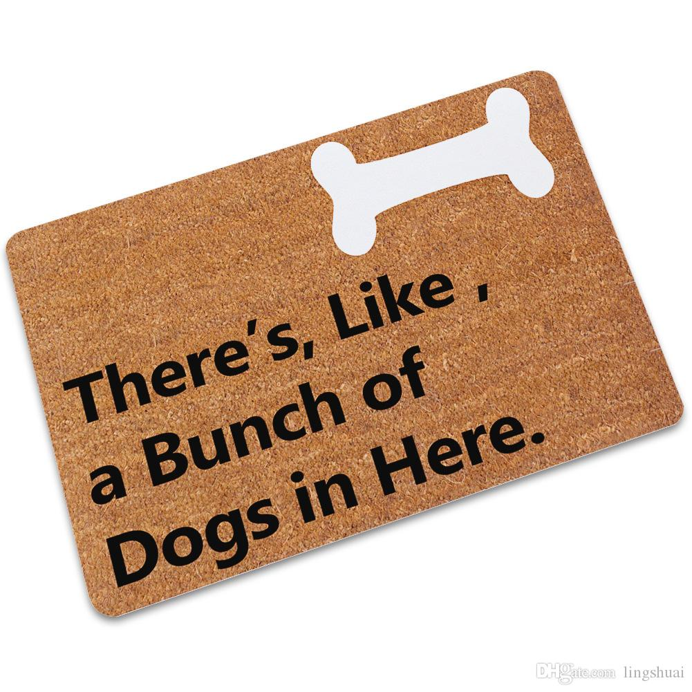 Tapis de sol d'entrée de paillasson Il y a, comme, un groupe de chiens dans cet drôle de tapis de porte intérieur paillasson décoratif en haut