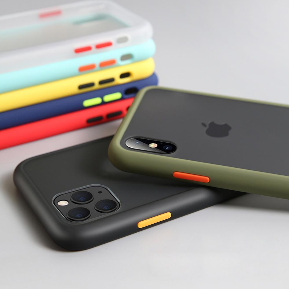 فاخر ضد الصدمات القضية للحصول على X XR XS ماكس سيليكون شفاف ماتي غطاء الهاتف لمدة 11 فون الموالية ماكس 7 8 زائد حالة
