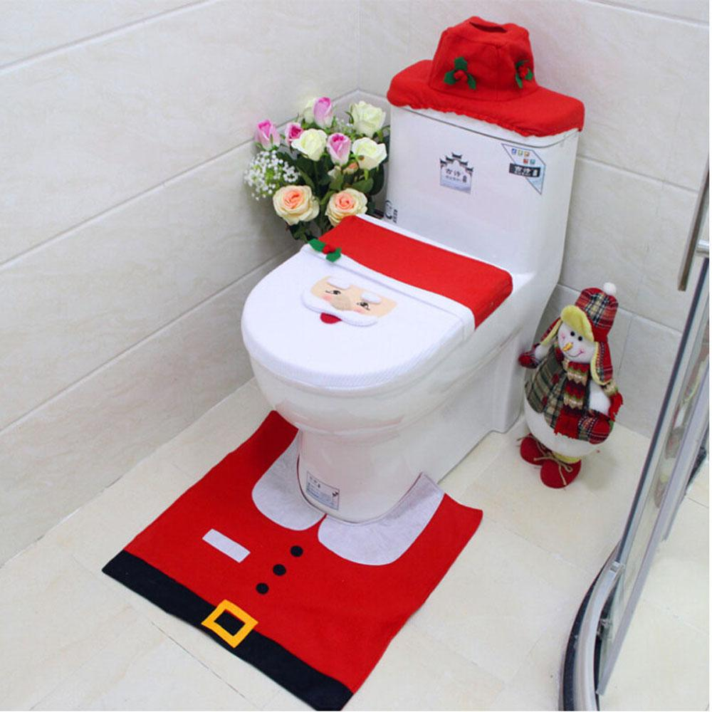 Santa Claus Four-piece Toilet Christmas Decorations Santa Claus LIDS Christmas Toilet Set
