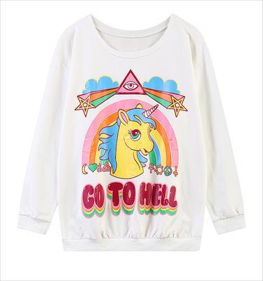 New 2018 Fashion Harajuku Winter 3D Sweatshirt Women Hoodies pullover hooded go to hell Unicorn Print O-neck Casual moletom