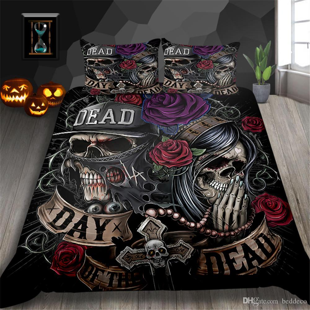 Skull Couple Bedding Set Flowers Scary Creative Fashionable Duvet Cover Gothic King Queen Single Double Full Twin Bed Cover with Pillowcase