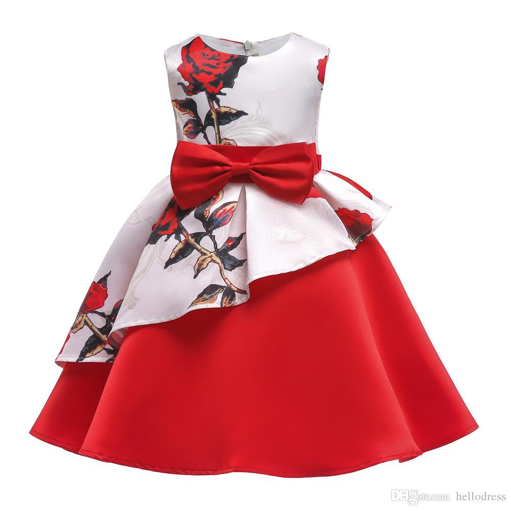 Red Floral Flower Girls Dresses A line Knee Length Bow Belt Layers Formal Kids Dress for Prom Party Holiday Birthday
