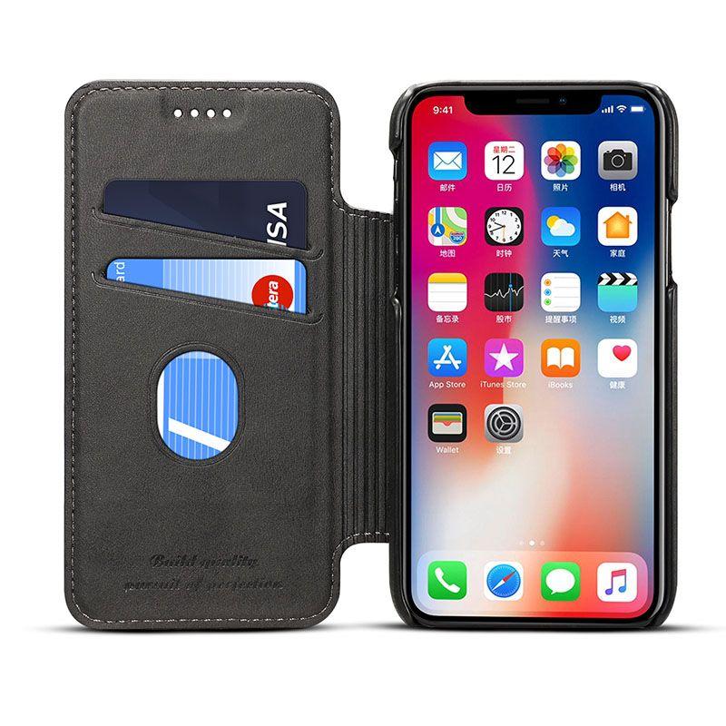 ريترو فتحة بطاقة جلدية القضية ل iPhone12 11 x xs ماكس صدمات حالة الغطاء الجلدي ل iphone11pro 8 7 زائد حالة وقائية الساخنة