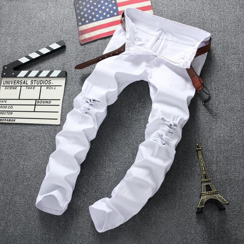 Designer Luxe Noir Skinny Jeans Ripped Destroyed stretch Slim Fit Hop Pantalon avec des trous pour les hommes
