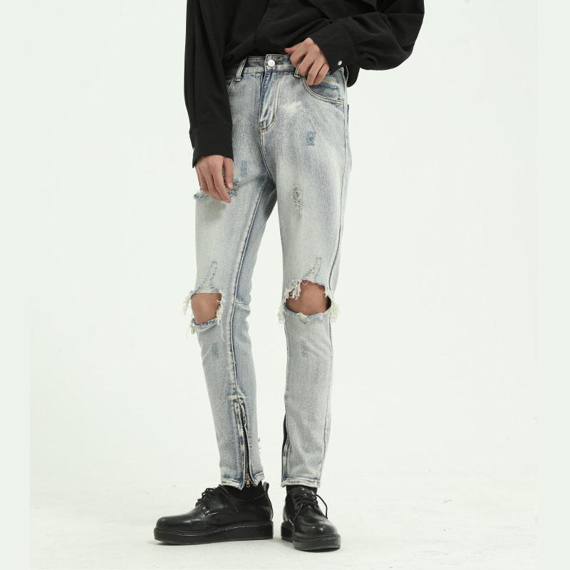 Erkek Kot Erkek Japonya Kore Tarzı Vintage Denim Pantolon Moto Pantolon Erkekler Yüksek Sokak Hip Hop Slim Fit Rahat Delik Ayak Bileği Uzunlukta Pantolon