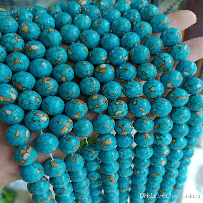 6/8/10/12/14/16mm Genuine Natural Piebald Turquoise Stone Beads DIY Jewelry Round Loose Gem Stone Beads Fit Healthing Bracelet