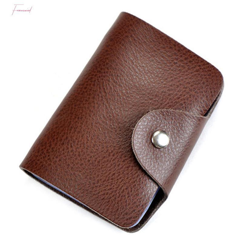 Cartes de visite de vente chaud en cuir de vachette Porte-cartes de crédit Case 26 emplacements pour Hommes Femmes B5