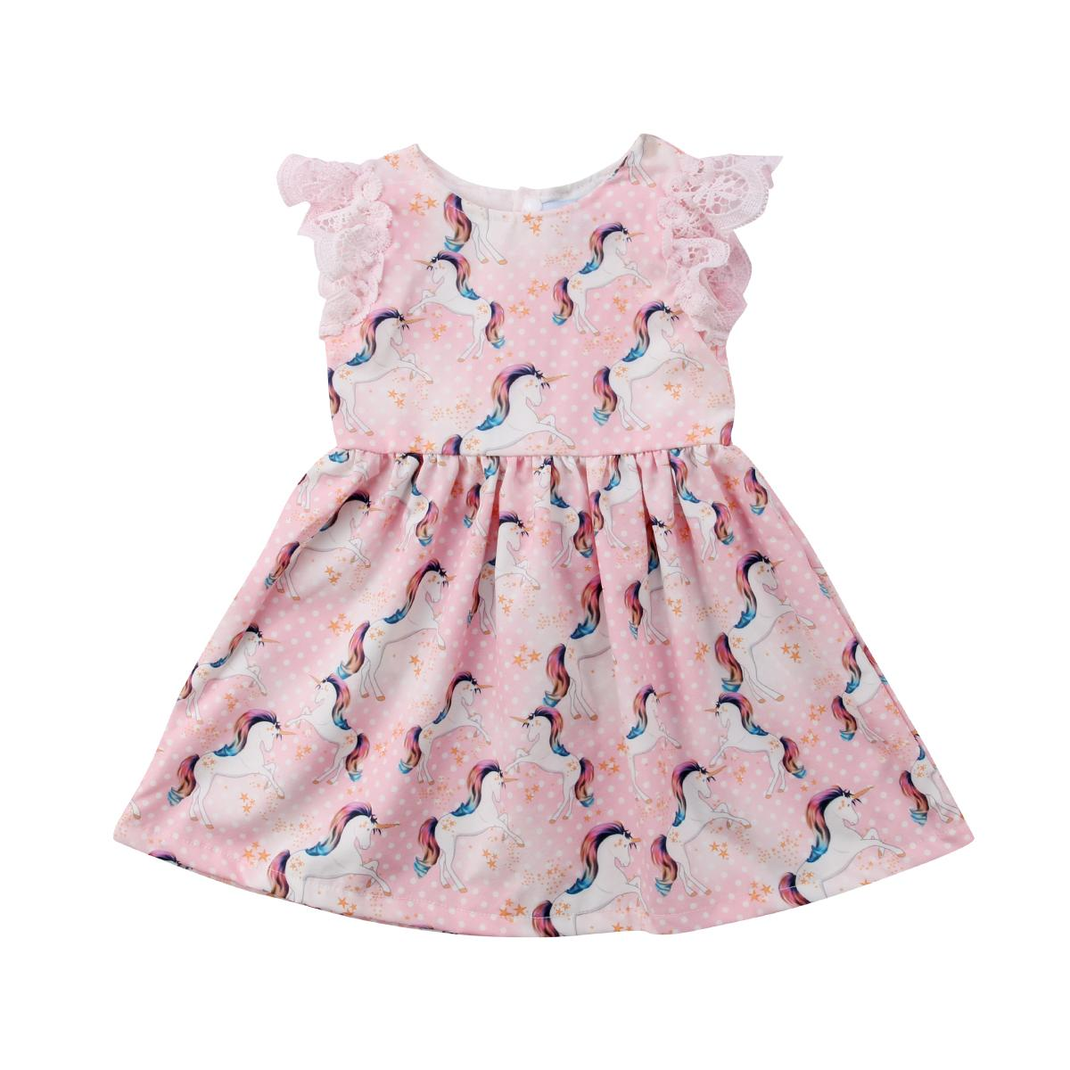 Лето Сладкий Симпатичные принцесса Dot печати Pink Малыши Kid ребёнки Lace Мультфильм Unicorn партии Pageant Туту платье сарафан Одежда