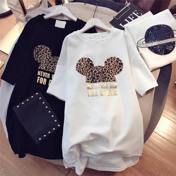 Women Designer T shirts Brand Dresses with Animal Lovely Mouse Fashion New Arrival Summer Dress for Women Short Sleeve Long Tee Dress M-XXL
