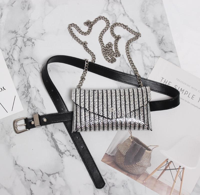 2019 Sonbahar Yeni Geometrik Rhinestone Kadın Fanny Paketleri Bling Kristal Boncuk Perçin PU Deri Bel Kemeri Çantası Zincir Omuz Çantaları