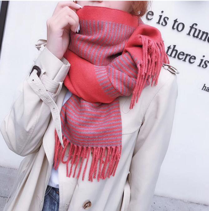 Мода-2020 новый бренд шарф женская длинная шаль зимние обертывания дизайнер scmere студент полоса печатных шарф для женщин #346