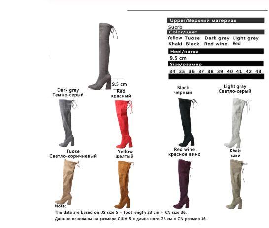 Mujeres Botas de invierno 2020 nuevo rebaño mujeres del cuero sobre la rodilla botas con cordones atractivos de los altos talones Mujer Otoño Tamaño de los zapatos 34-43 Zapatos