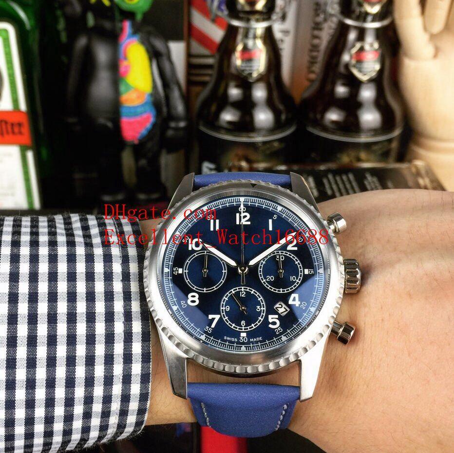 Новые горячие купить мужские часы 43 мм Navitimer 8 AB0117131C1P1 корпус из нержавеющей стали B01 хронограф VK кварцевый Кожаный ремешок мужские часы