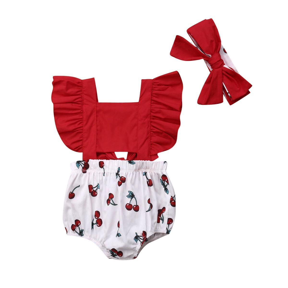 Pudcoco 0-18M 2adet Bebek Yenidoğan Bebek Kız Bebek fırfır Kiraz Kolsuz Bodysuit Güneş Kıyafet Yaz Giyim