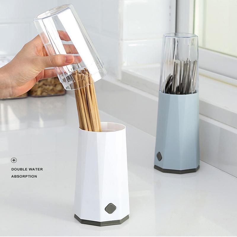 Multi-Function Escorra Chopsticks Box Cozinha com tampa de poeira tampa Faqueiro Caixa de armazenamento Recipiente Easy Clean plástico