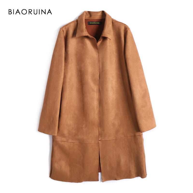 BIAORUINA 3 Color Women High Street Suede Solid Trench Coat Open Stitch Korean Style Female Fashion Trench Turn-down Collar