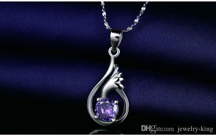 kolyeler gümüş CZ kolye gümüş CZ kolye moda takı S A9 Karışık sipariş en kaliteli kadın S925 gümüş CZ kolye
