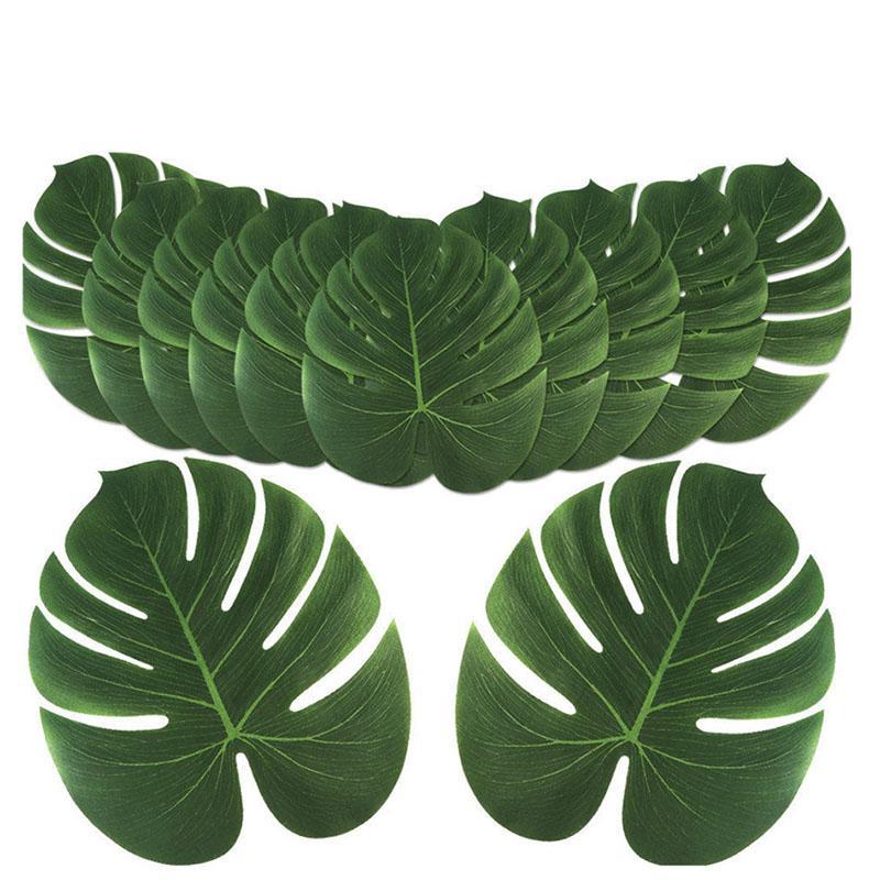 Eco-Friendly 24pcs 35x29cm &20x18cm Artificial Tropical Palm Leaves Simulation Leaf For Hawaiian Party Jungle Beach Theme Party Decorations